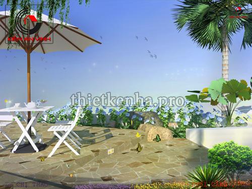 Thiết kế quán cafe sân vườn đẹp Ioni