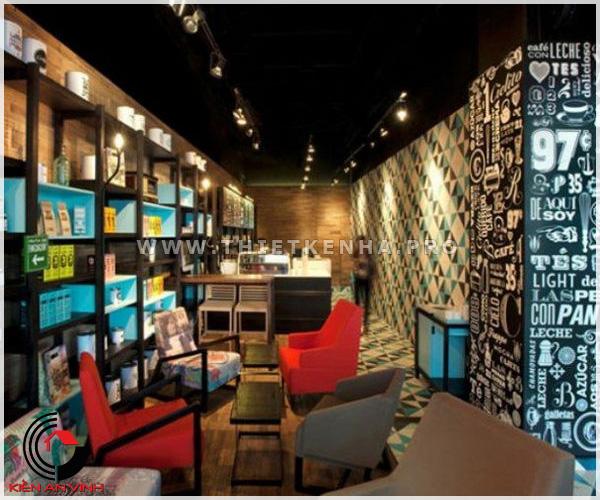thiết kế quán cafe phong cách color block 2