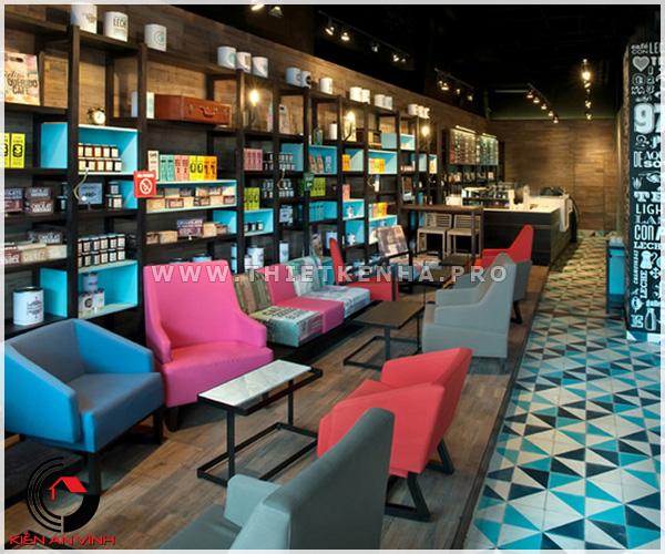 thiết kế quán cafe phong cách color block 1