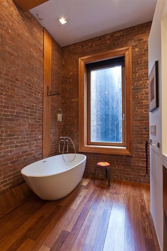 Phòng tắm dịu dàng với tường gạch (2)