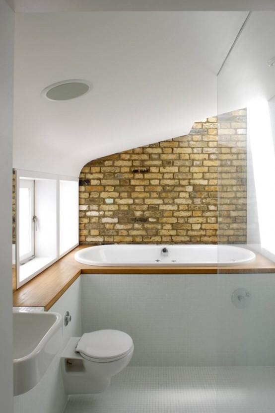 Phòng tắm dịu dàng với tường gạch (15)