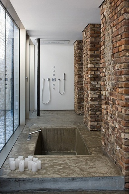 Phòng tắm dịu dàng với tường gạch (17)