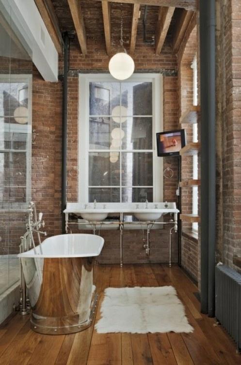 Phòng tắm dịu dàng với tường gạch (3)