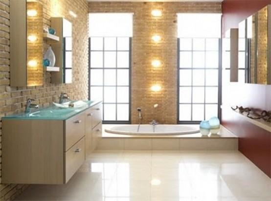 Phòng tắm dịu dàng với tường gạch (20)