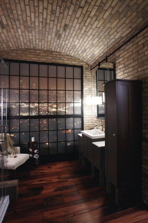 Phòng tắm dịu dàng với tường gạch (22)