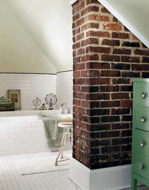 Phòng tắm dịu dàng với tường gạch (23)
