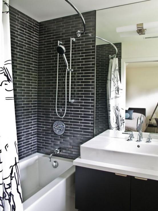 Phòng tắm dịu dàng với tường gạch (25)