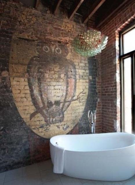 Phòng tắm dịu dàng với tường gạch (26)