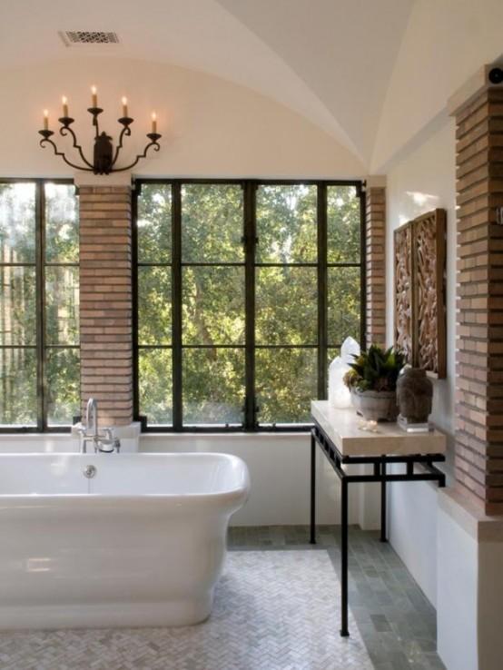 Phòng tắm dịu dàng với tường gạch (28)