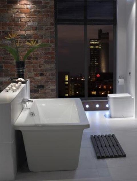Phòng tắm dịu dàng với tường gạch (29)
