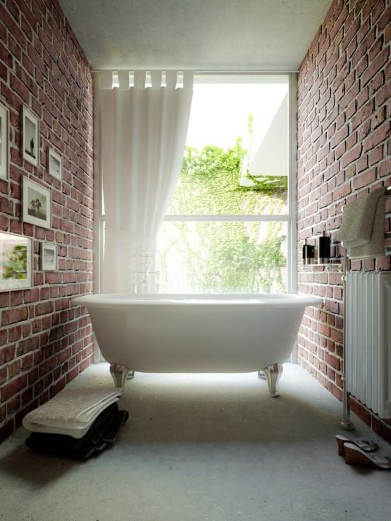 Phòng tắm dịu dàng với tường gạch (30)