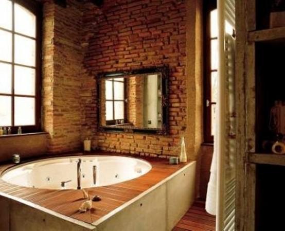 Phòng tắm dịu dàng với tường gạch (31)