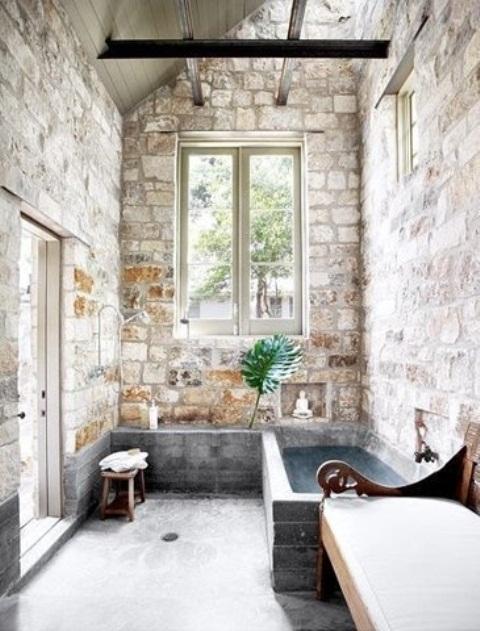 Phòng tắm dịu dàng với tường gạch (5)