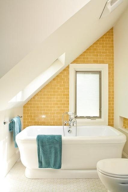 Phòng tắm dịu dàng với tường gạch (35)