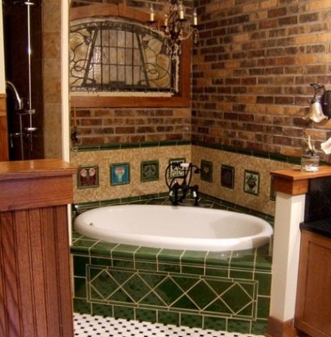 Phòng tắm dịu dàng với tường gạch (36)