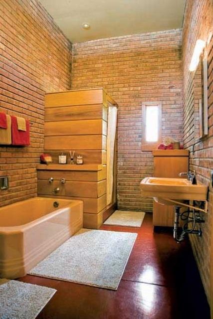 Phòng tắm dịu dàng với tường gạch (37)