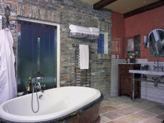 Phòng tắm dịu dàng với tường gạch (38)