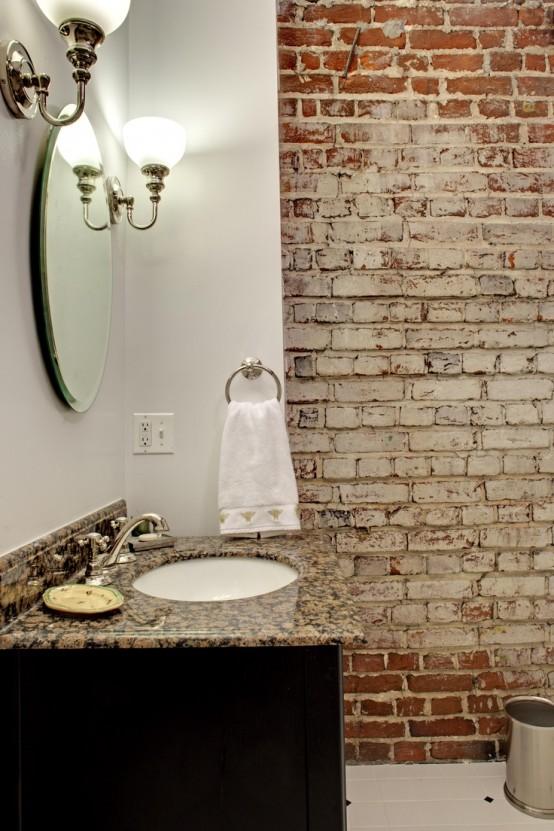 Phòng tắm dịu dàng với tường gạch (39)