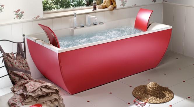 red bathtub