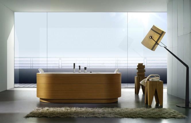 timber finish bathtub