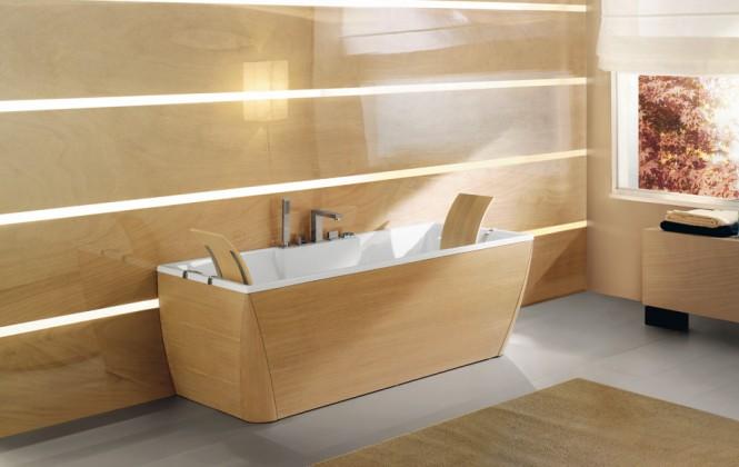 timber finish bathtub and bathroom