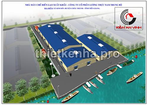 Thiết Kế Nhà Xưởng Chế Biến Gạo - Tiền Giang 01