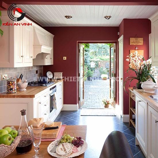 Thiết kế nhà bếp đẹp mắt với gam màu đỏ 1