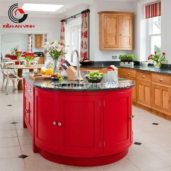 Thiết kế nhà bếp đẹp mắt với gam màu đỏ 2