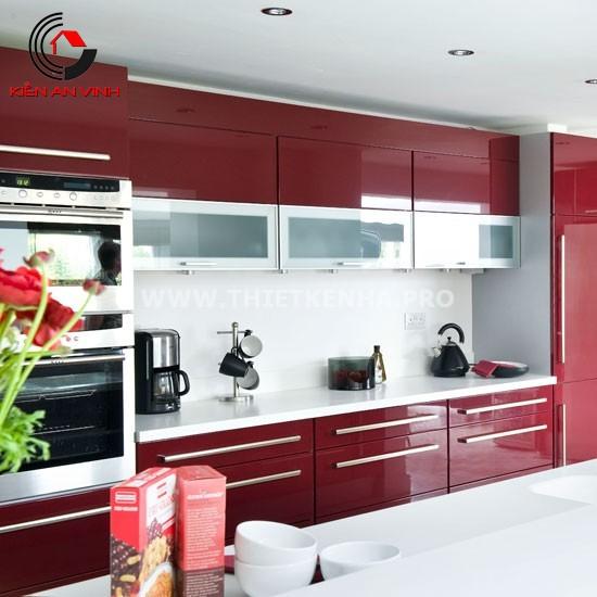 Thiết kế nhà bếp đẹp mắt với gam màu đỏ 3
