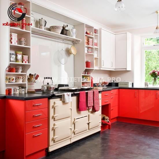 Thiết kế nhà bếp đẹp mắt với gam màu đỏ 4