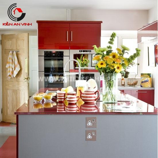 Thiết kế nhà bếp đẹp mắt với gam màu đỏ 5