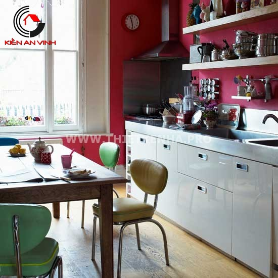 Thiết kế nhà bếp đẹp mắt với gam màu đỏ 6