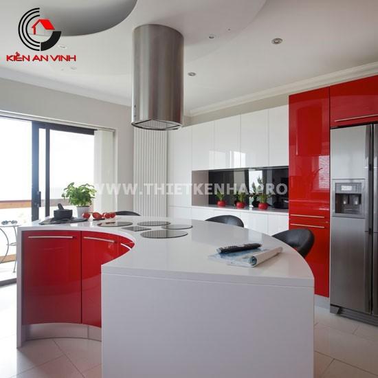 Thiết kế nhà bếp đẹp mắt với gam màu đỏ 8