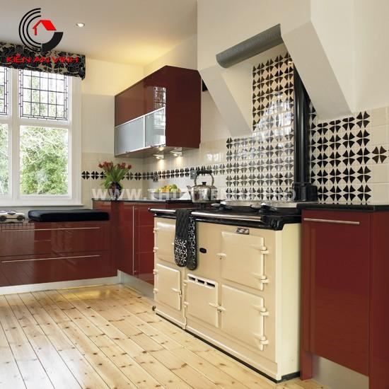 Thiết kế nhà bếp đẹp mắt với gam màu đỏ 9