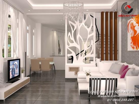 Nội thất phòng khách sang trọng với gam màu trắng