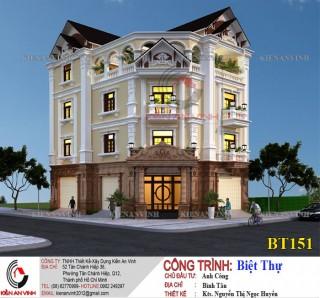 Mẫu thiết kế biệt thự 4 tầng phong cách bán cổ điển