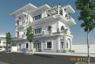 Thiết kế biệt thự mái bằng hiện đại 3 tầng