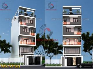 Thiết kế nhà phố 5 tầng 1 tum tại Tiền Giang