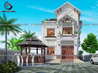 Mẫu biệt thự đẹp 2 tầng 1 tum bán cổ điển