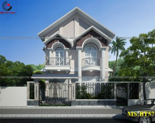Thiết kế biệt thự 2 tầng mái thái siêu đẹp