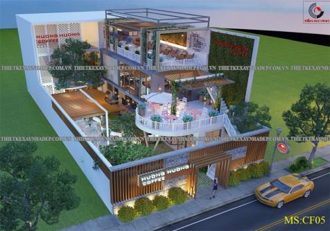 Mẫu thiết kế quán cafe 2 tầng đẹp tại Phú Yên