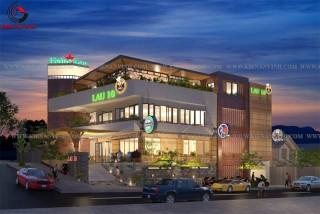 Mẫu thiết kế nhà hàng ăn uống đẹp 2 tầng 1 tum