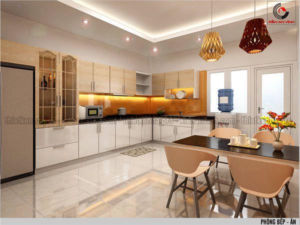 Mẫu thiết kế nội thất phòng bếp cho biệt thự hiện đại