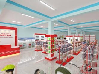 Mẫu thiết kế siêu thị mini mẹ và bé