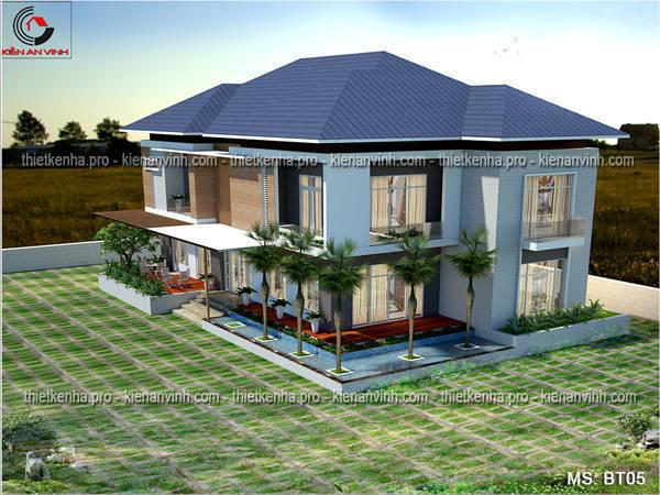 Thiết kế biệt thự hiện đại mái thái 1 tầng