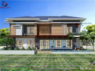 Thiết kế biệt thự hiện đại mái thái 1 tầng tại Đồng Nai MS: BT05
