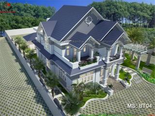 Thiết kế biệt thự nhà vườn 1 tầng trên đất 9x16m ở Cà Mau MS: BT04