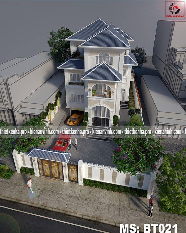 Thiết kế biệt thự bán cổ điển 3 tầng