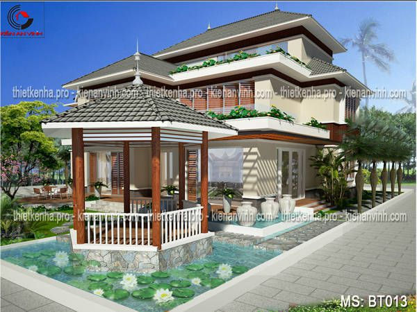 Thiết kế biệt thự sân vườn 1 tầng