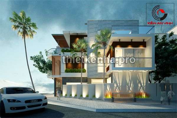 thiết kế nhà phố hai mặt tiền 01